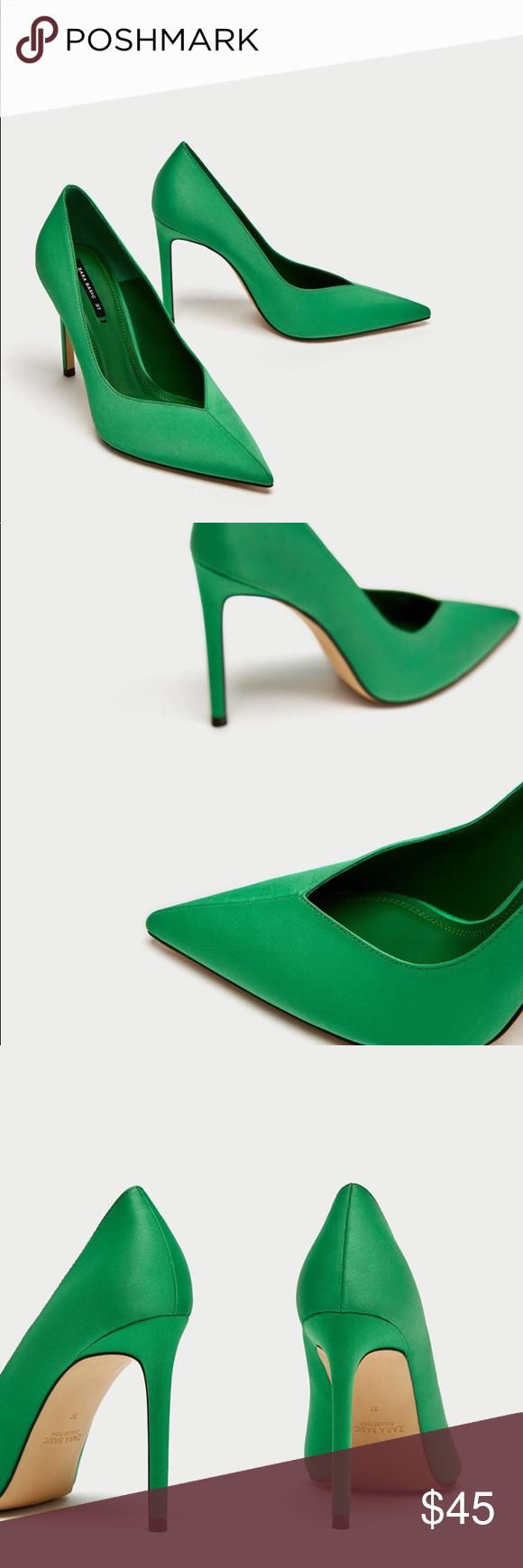 Zara Green V Vamp High Heel Court Shoes Heels Stiletto Heels Green High Heels