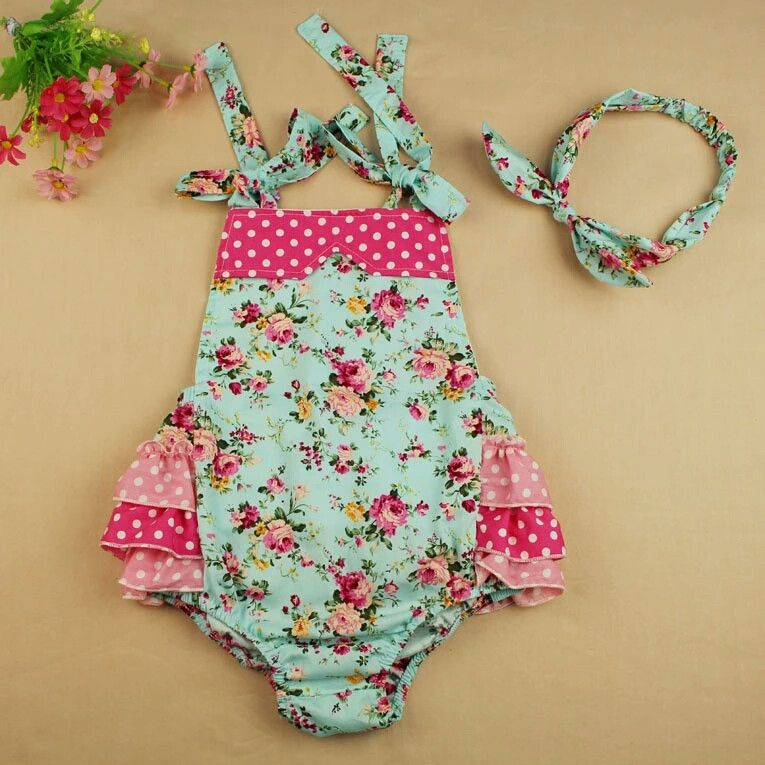 Baby Girls Adorable Vintage Style Romper with Matching Headband ...