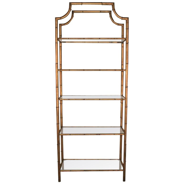 Awesome Hollywood Regency Gilt Metal Faux Bamboo Pagoda Etagere Awesome Ideas