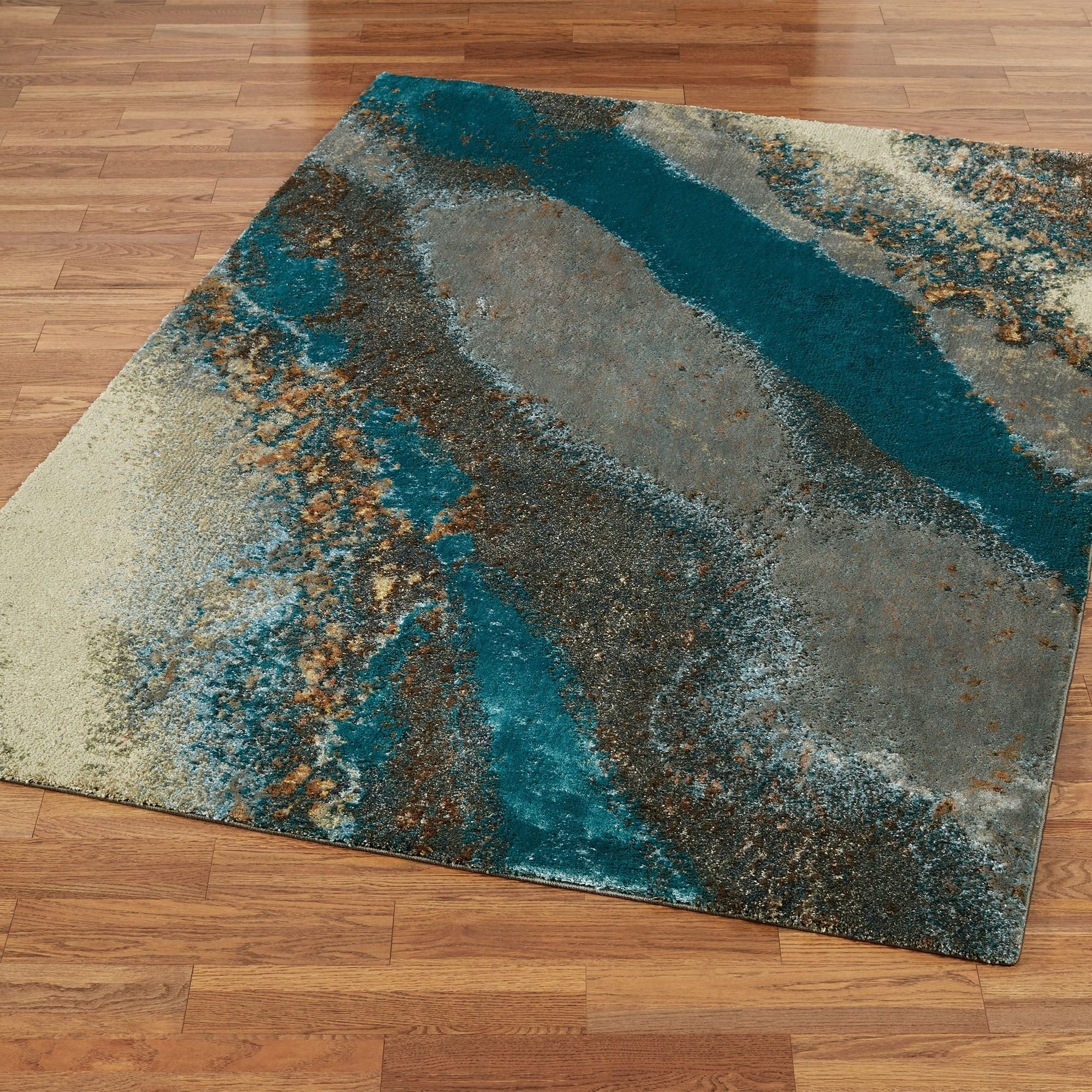 Creations ii dark teal cool toned abstract area rugs in