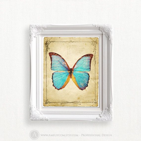 Butterfly Print Blue Butterfly Wall Art Printable Poster Butterfly ...