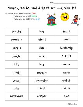 Nouns Verbs Adjectives Color Coding Practice Worksheet ...