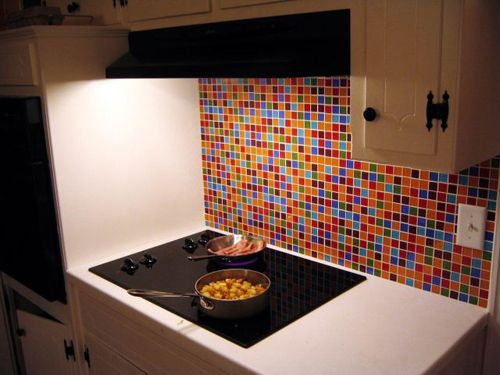 bijou fiesta blend glass mosaic tile backsplash close up - Bijou Fiesta Blend Glass Mosaic Tile Backsplash Close Up Kitchen