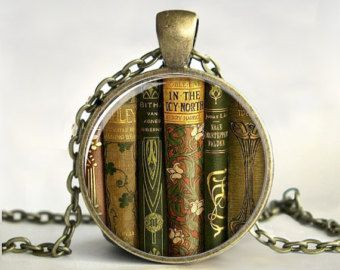 Library Book Necklace, Book Pendant,Book Jewelry,Gift for Teacher,Teacher Jewelry, Gift for Writer,Librarian,Book Lover,Bibliophile,Glass