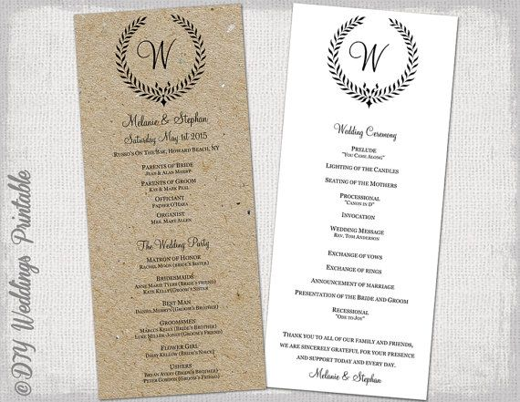 Wedding Ceremony Programs.Wedding Program Template Black Leaf By Diyweddingsprintable