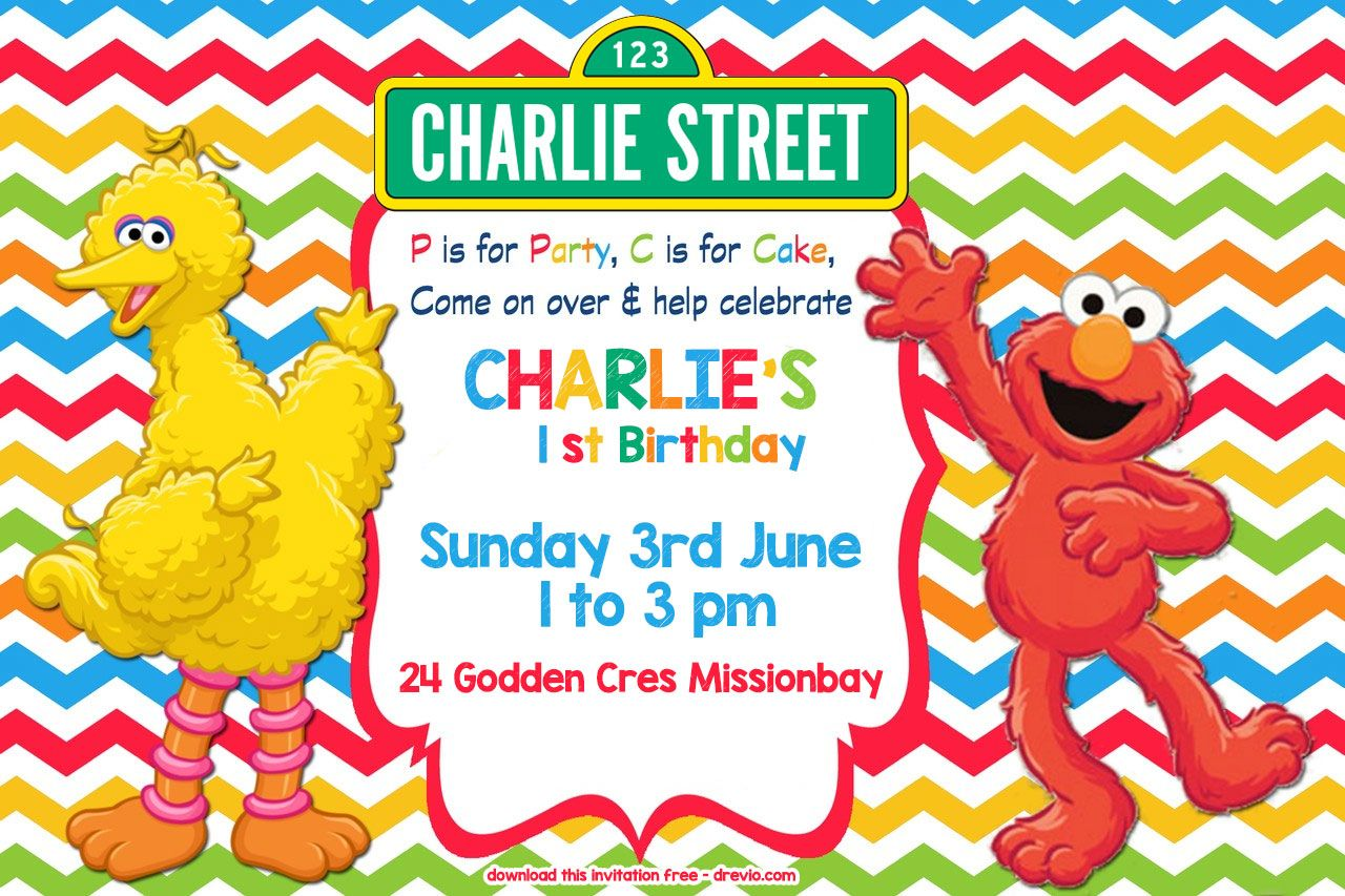 FREE Sesame Street Colorful Chevron Invitation Template Sesame