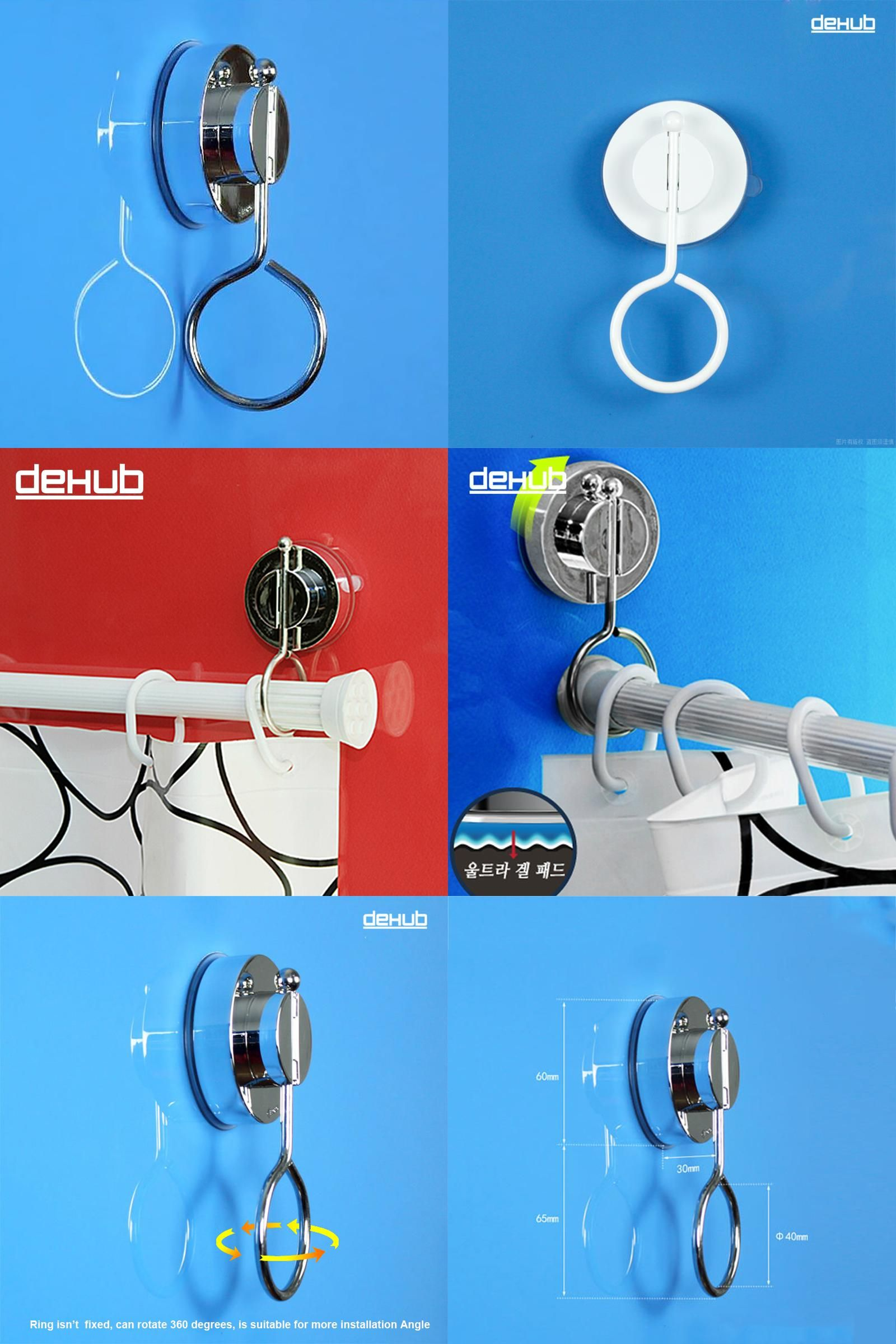 Visit To Buy Korea DeHUB Super Vacuum Suction Cup Shower Curtain Rod Hanging Powerful