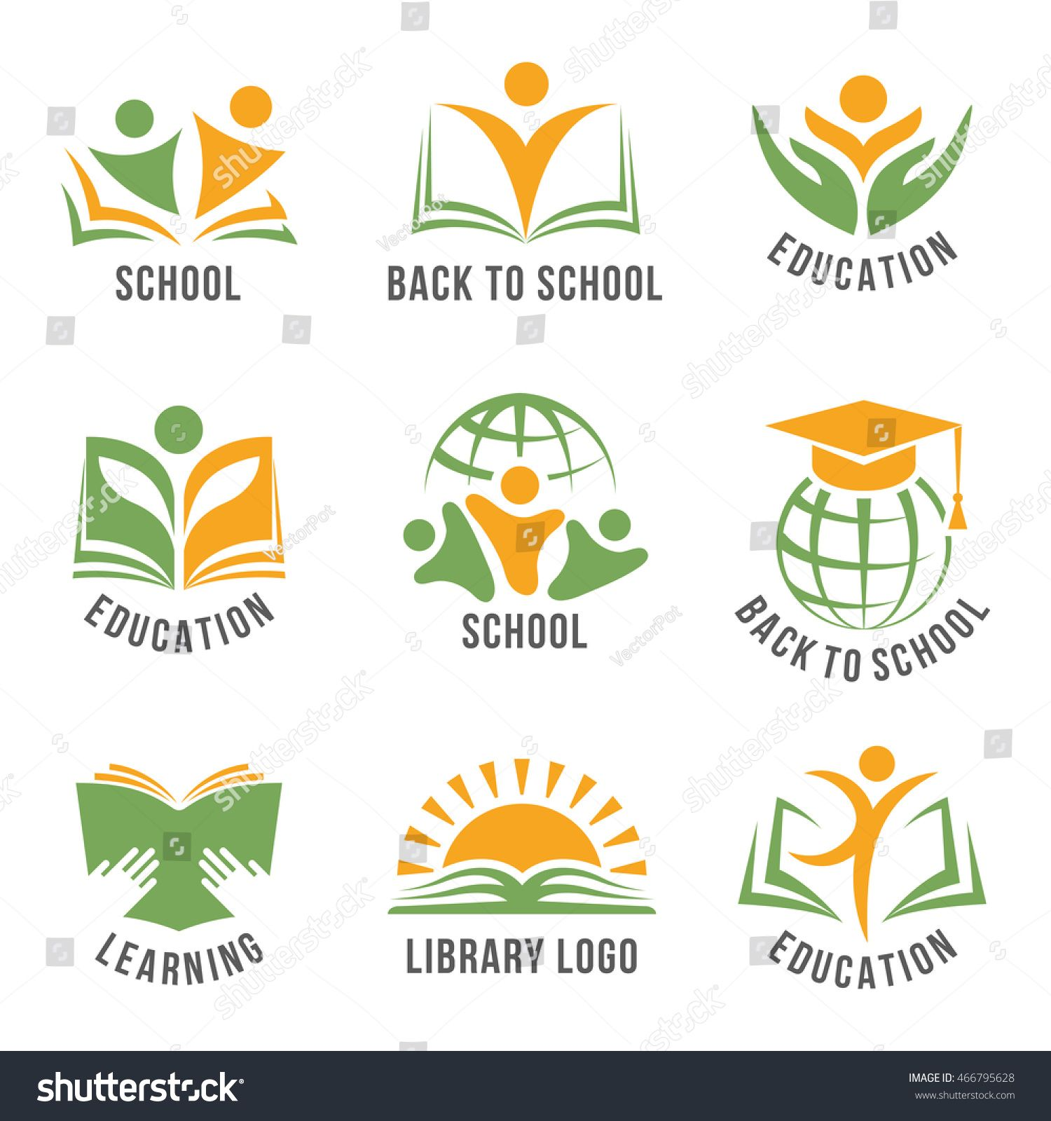 Set Of Colorful School Logos Flat Isolated Green And Orange Vector