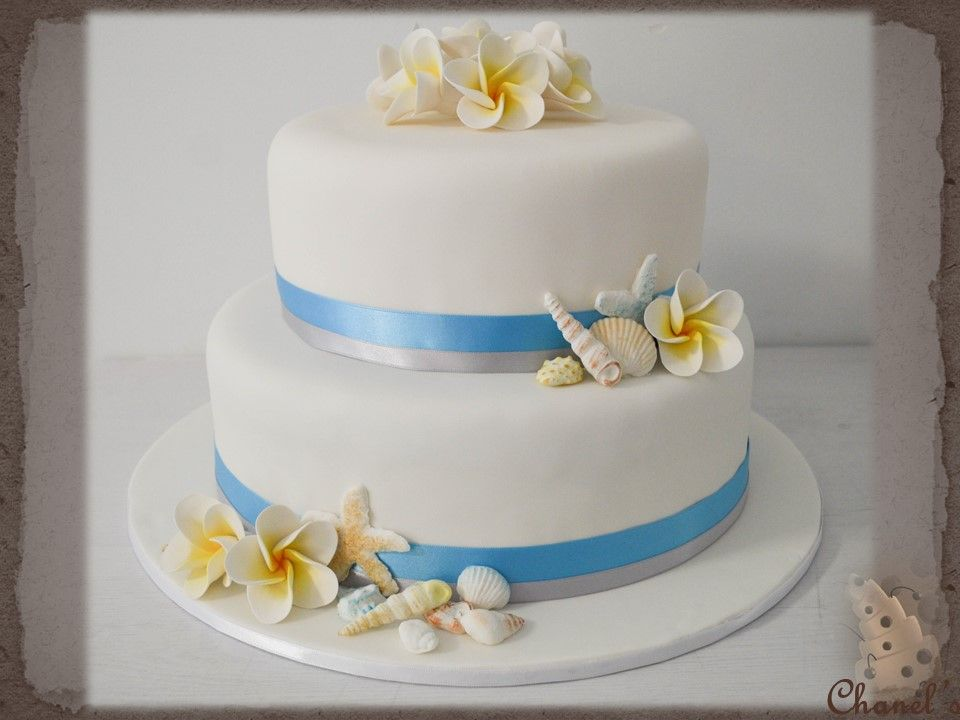 Sea Shell Frangipani Flowers Wedding Cake Beach Theme Cake2 Tier Round 8 11 Inch Covered In White Fondant And Decorated