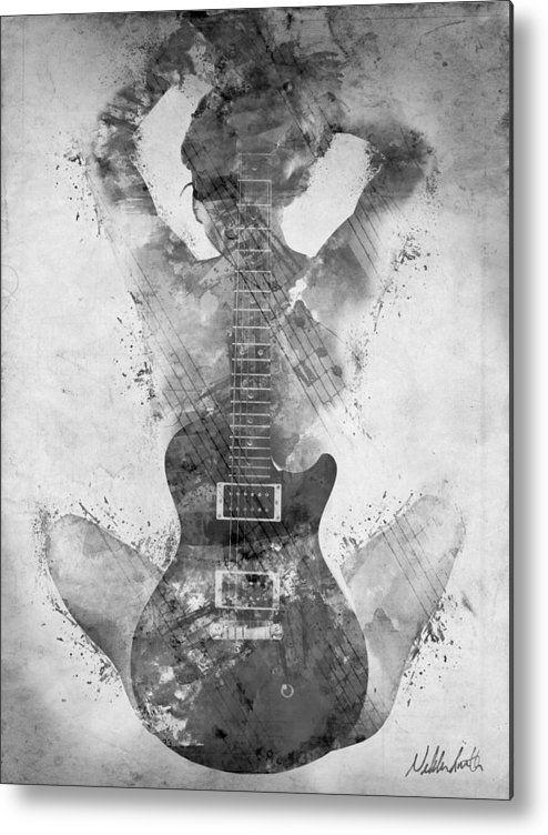 Guitar Siren In Black And White Metal Print By Nikki Smith In 2020 Guitar Wall Art Music Artwork Instruments Art