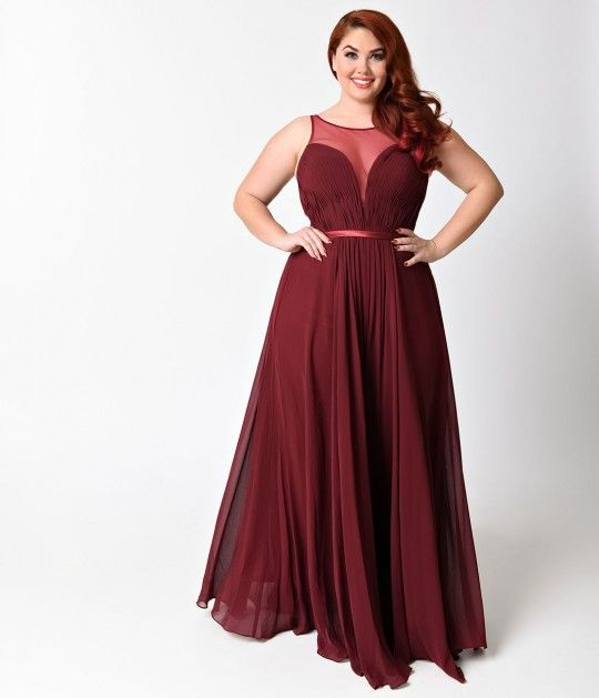 Preorder Plus Size Burgundy Chiffon Illusion Sweetheart Long Gown