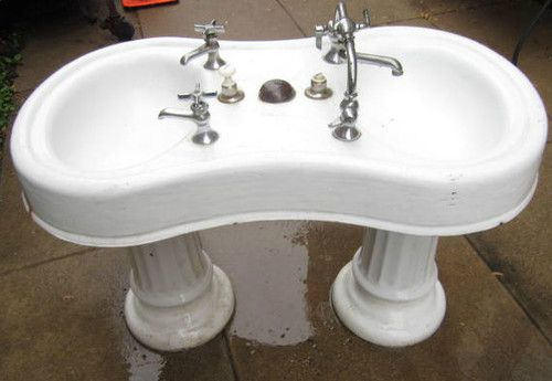 Antique Porcelain Turn Of The Century Double Bowl Sink Old Barber Shop Sink Double Bowl Sink Antique Porcelain Barber Shop