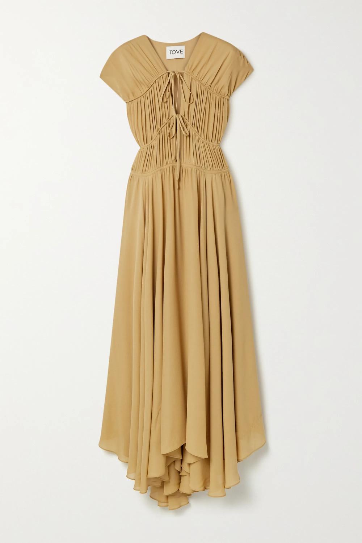 Tan Flores Gathered Silk Georgette Maxi Dress Tove Dresses Maxi Dresses Fall Maxi Dress [ 1500 x 1000 Pixel ]