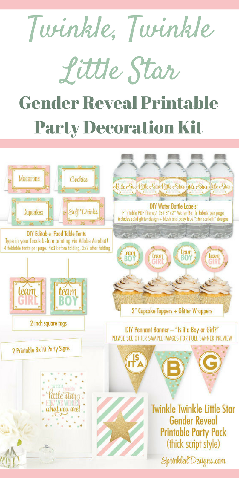 Twinkle Twinkle Little Star Gender Reveal Party Decoration Kit Printable Gender Reveal Party Ideas Twinkle Twinkle Little Star Party Decor Cupcake Wrapper