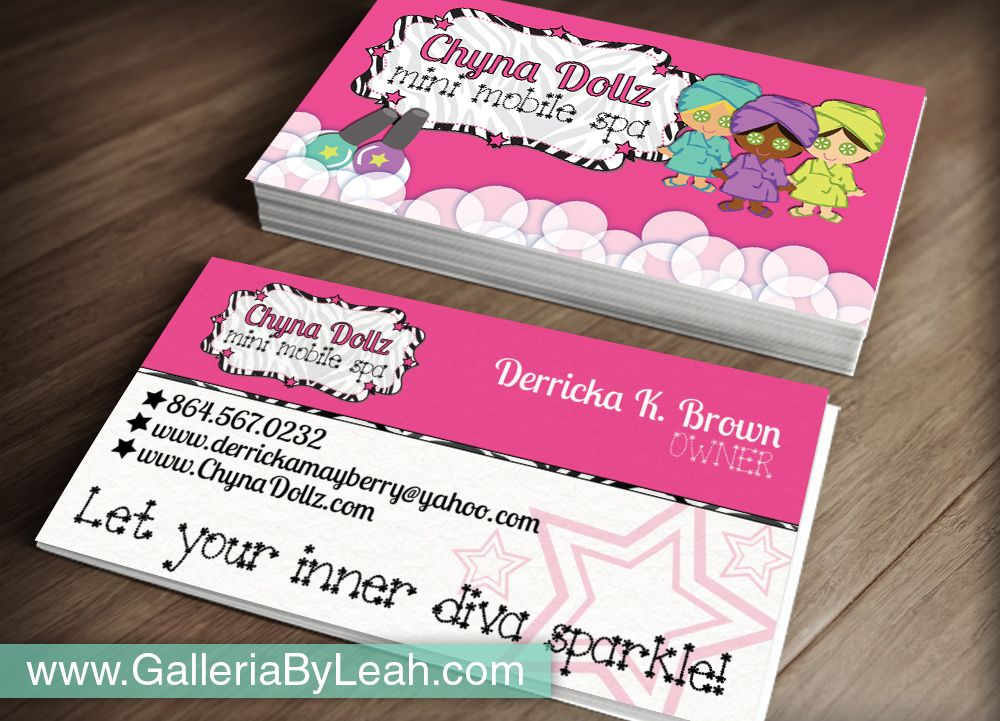 Spa party business cards. Would also be cute invitations. | My ...
