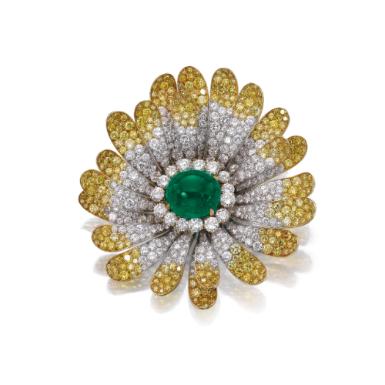 Emerald and diamond brooch, Bulgari, circa 1970 - Sotheby's.