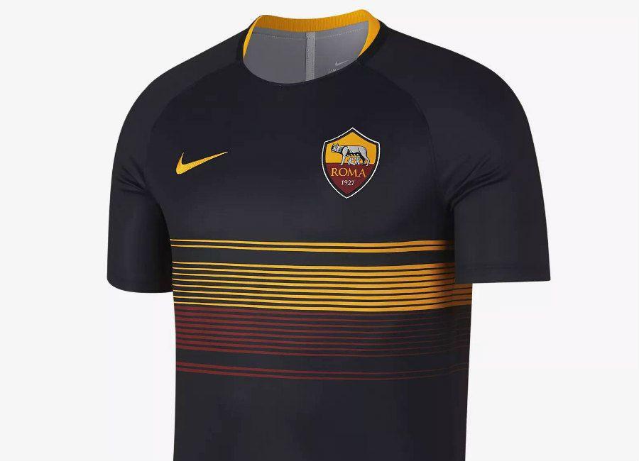 aa4d39b71 #football #soccer #futbol #asroma #nikefootball #forzaroma Nike A.S. Roma  Dri-FIT Squad Football Top - Black / Black / University Gold