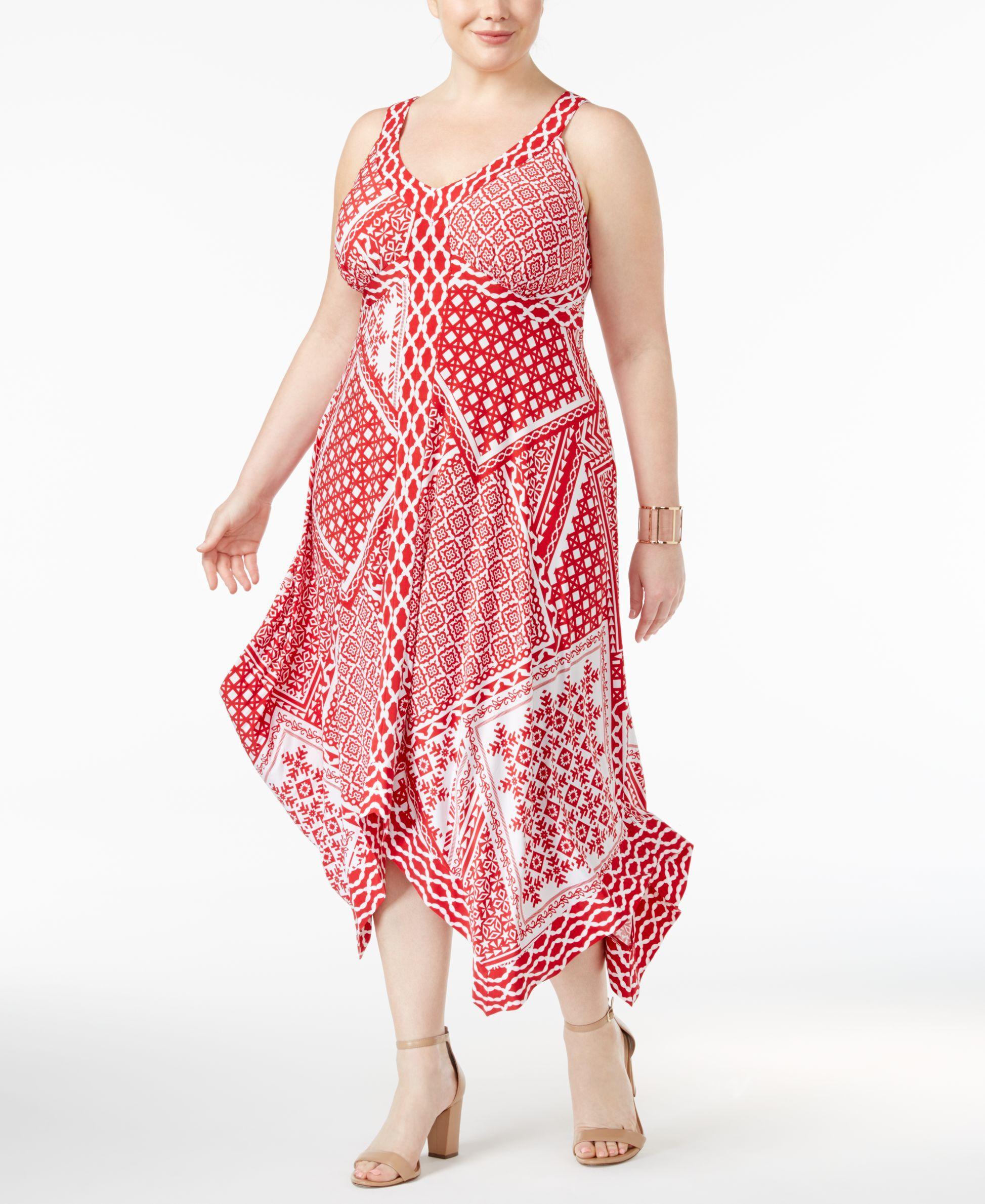 Inc International Concepts Plus Size Printed Handkerchief-Hem Dress, Only at Macy's
