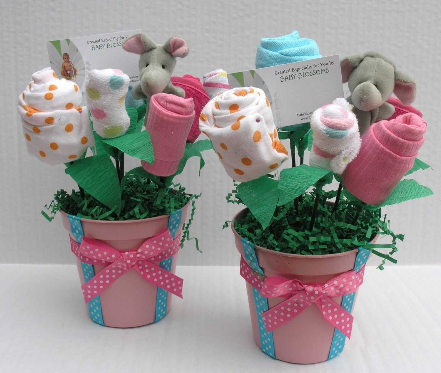 Baby shower centerpiece onsies and socks flower bouquet
