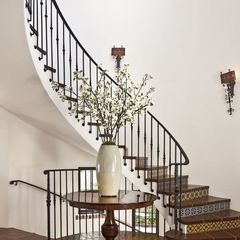 Open Staircase With Decorative Risers And Iron Railing Hacienda