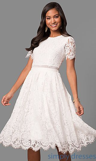 Knee Length Lace Party Dress With Short Sleeves Dresses For The
