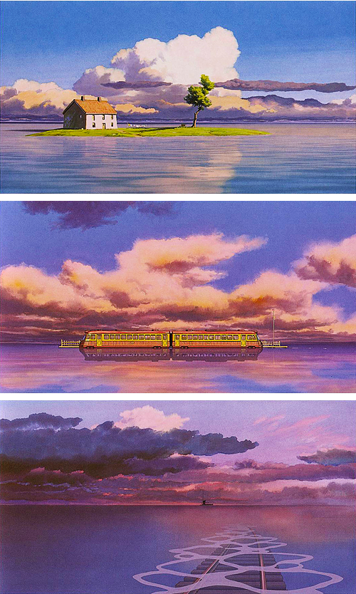 Ghibli S Concept Views From The Train Scene In Spirited Away Ghibli Artwork Ghibli Art Studio Ghibli Art