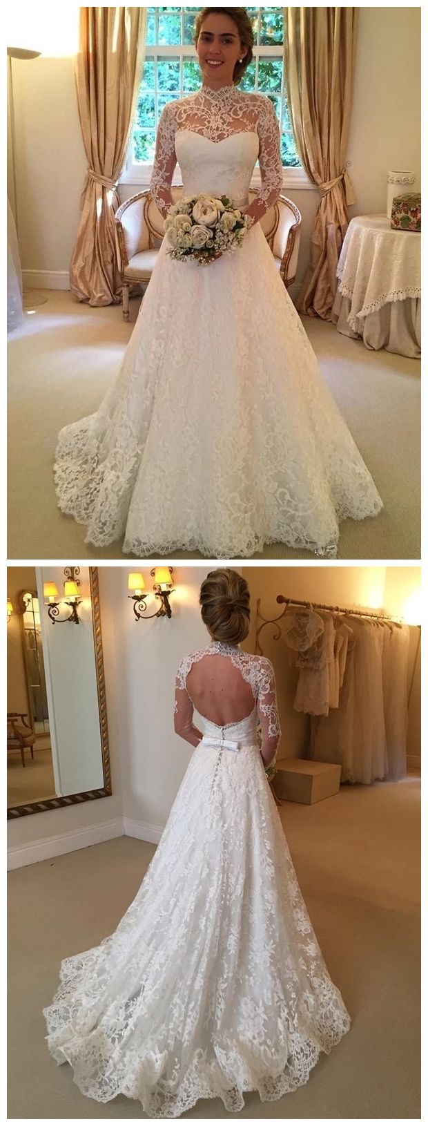 Modest long sleeve wedding gown  Long Sleeve Modest Lace Wedding Dresses High Neck Backless Ivory