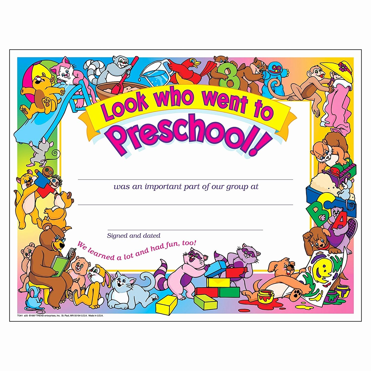 Preschool Certificate Templates Awesome Free Printable ...