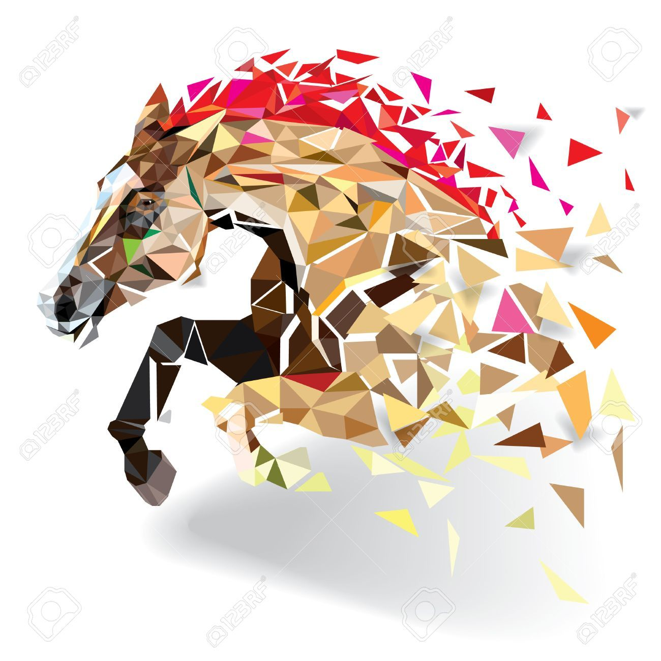 Horse In Geometric Pattern Style Vector Eps 10