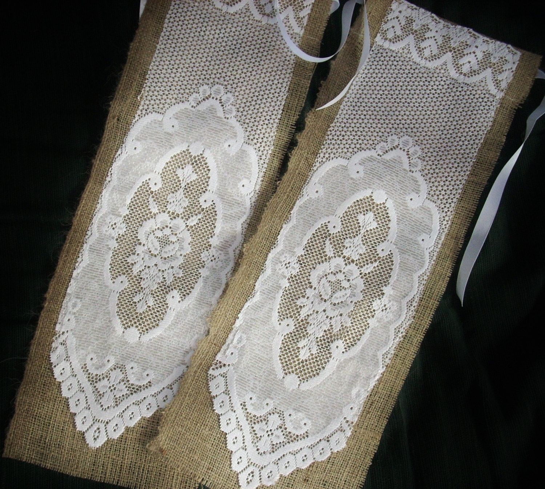 Burlap wedding dress sash  Burlap and Lace Wedding Chair Banners Wedding Chair Sashes Church