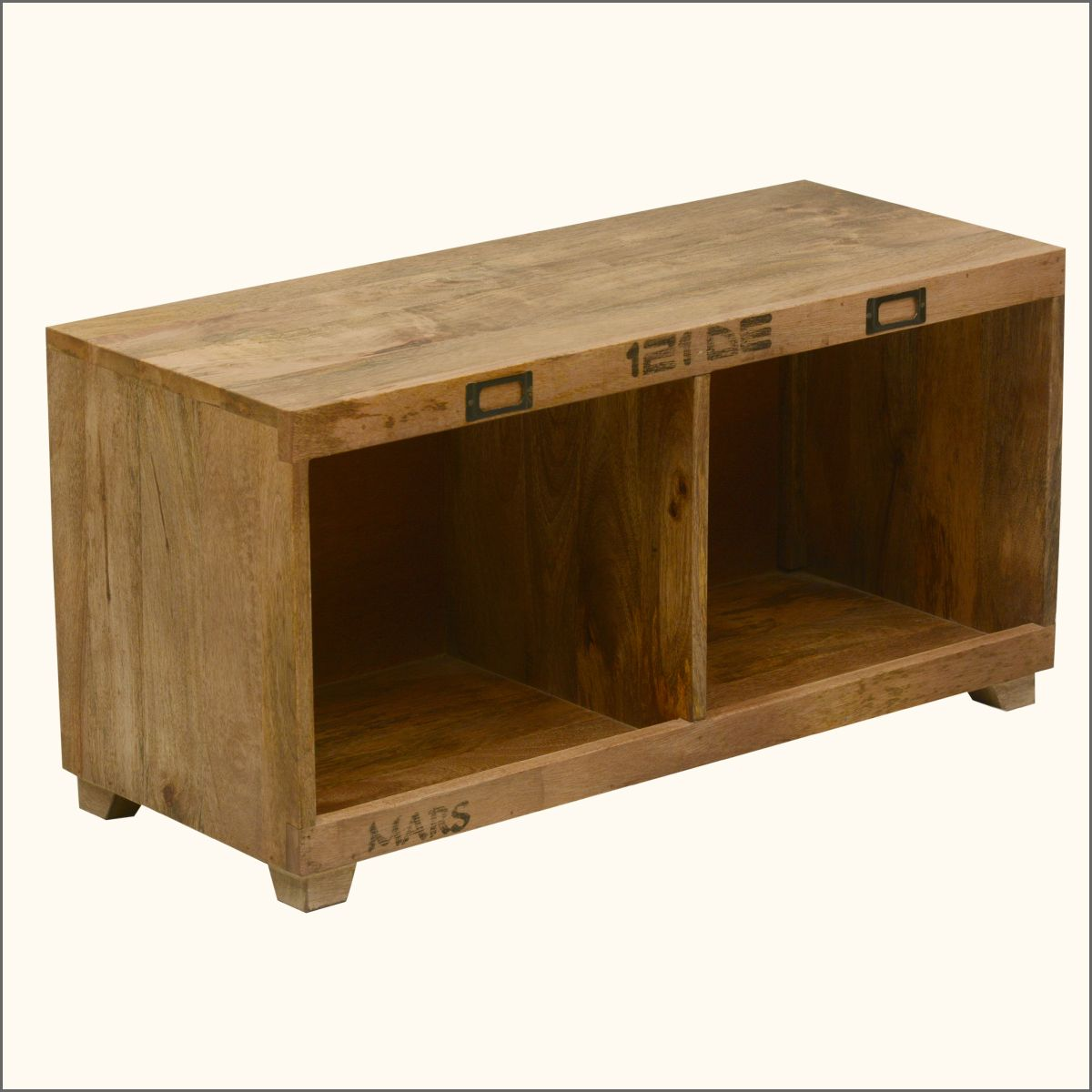 Anchors Away Mango Wood Coffee Table Bench w Open Cubbies | Storage ...