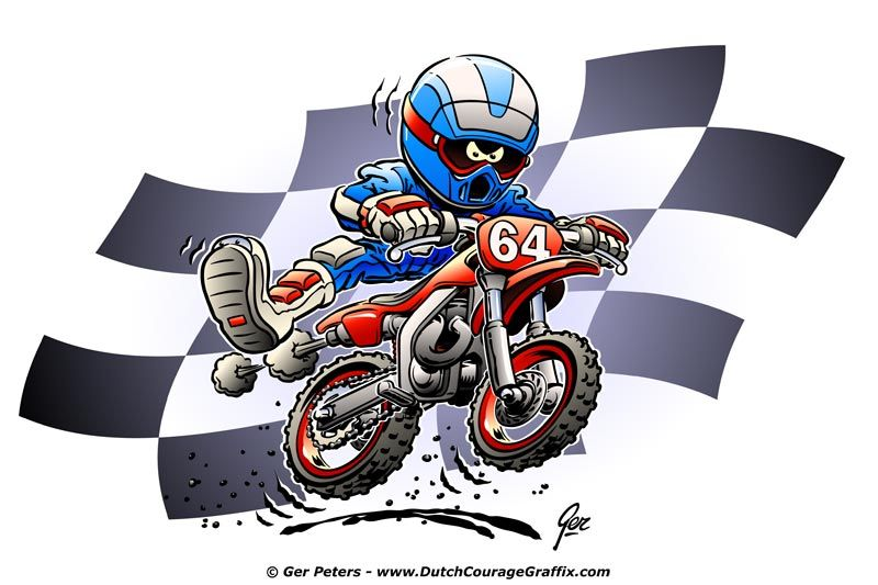 Dirtbike Cartoon Motocross Dirt Bike Cartoon Artwork With