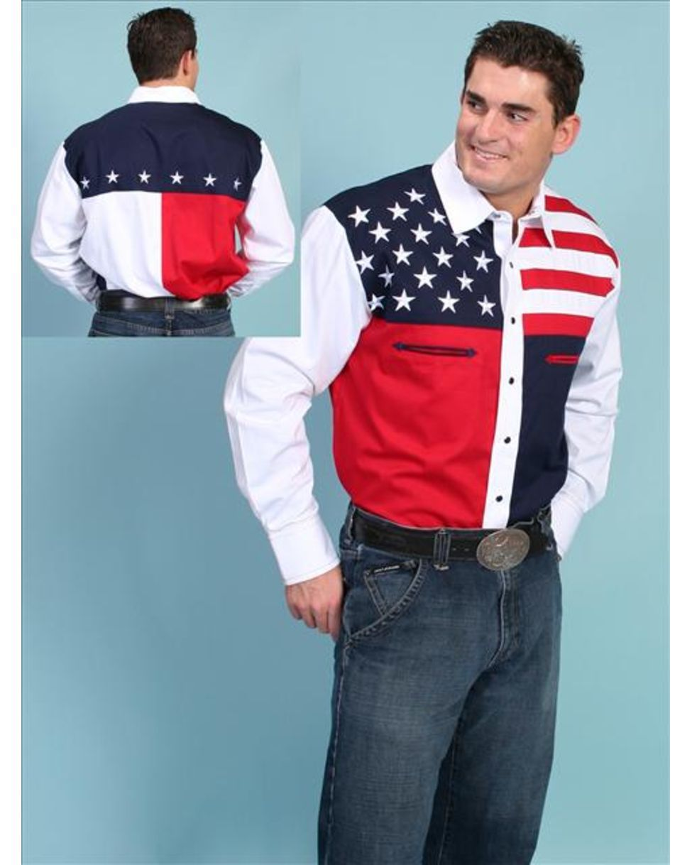 Scully Men's Red White and Blue Color Block Shirt-Patriot ...