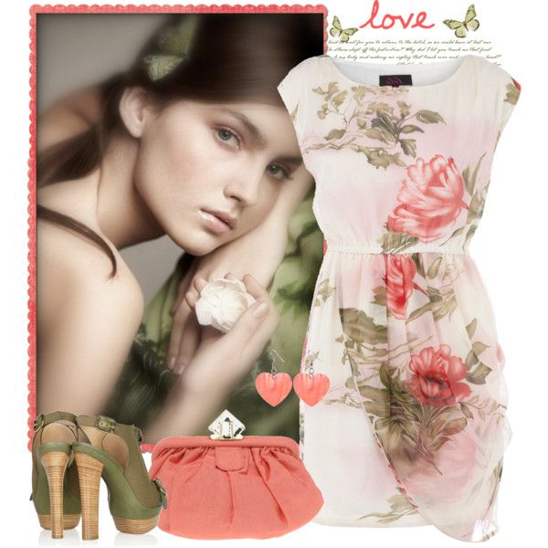 Coral love by annabu on Polyvore featuring ファッション, Dorothy Perkins, Emilio Pucci, ASOS, Lost & Found, floral dresses, coral and floral print