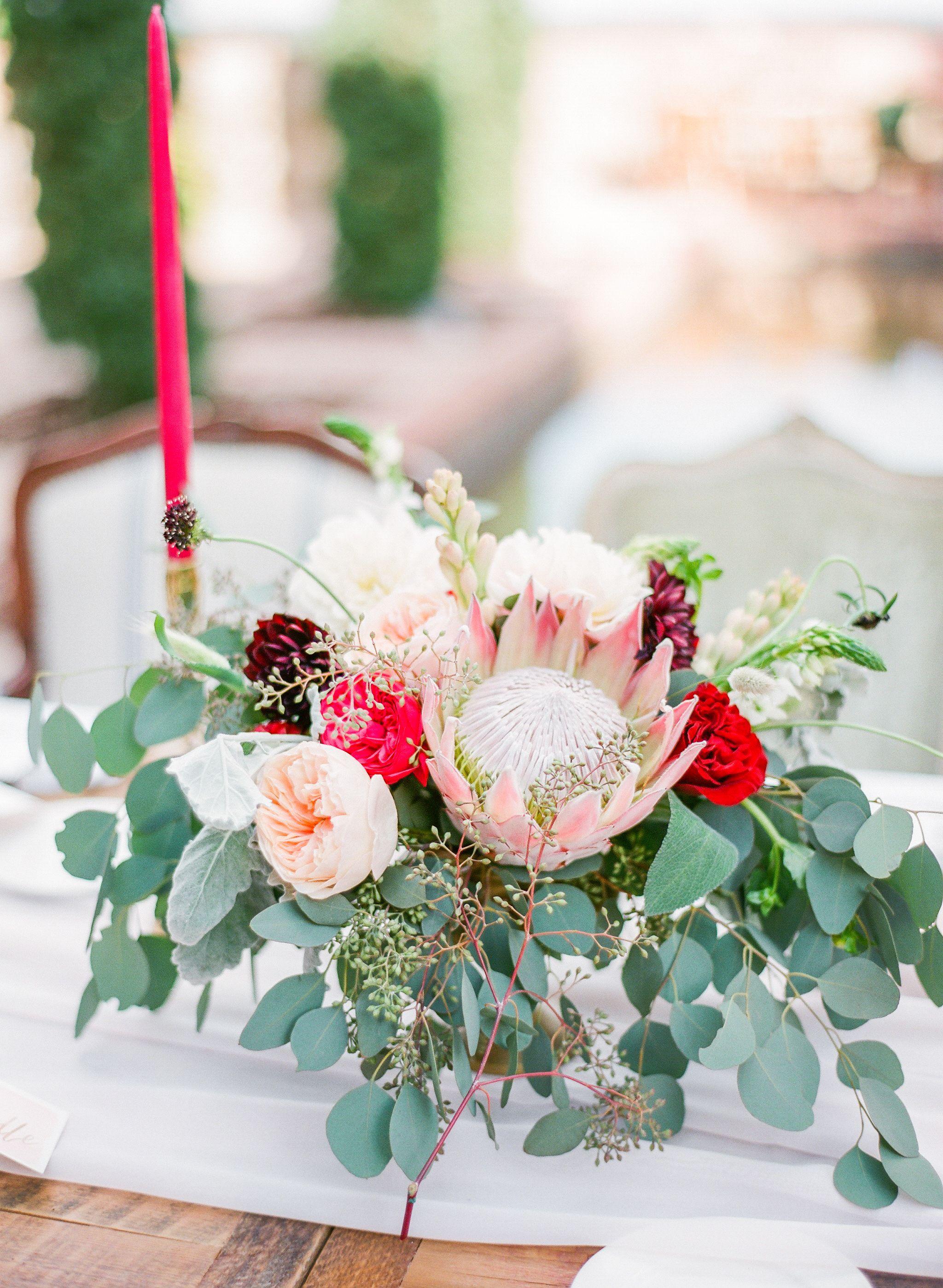King Protea Garden Rose And Eucalyptus Centerpieces Wedding Table Flowers Eucalyptus Centerpiece Wedding Centerpieces