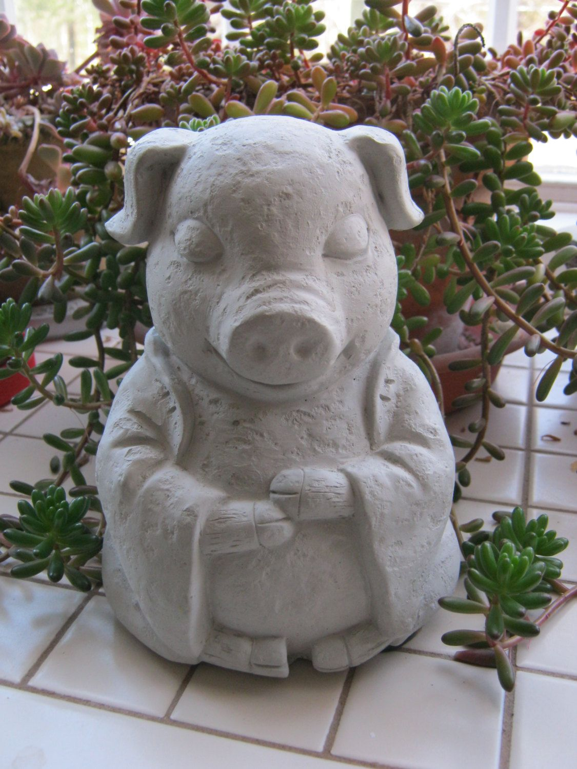 Pig Statue Meditating Like Buddha Pigs Zen Animals Figures In Contemplation By Westwindhomegarden On Etsy