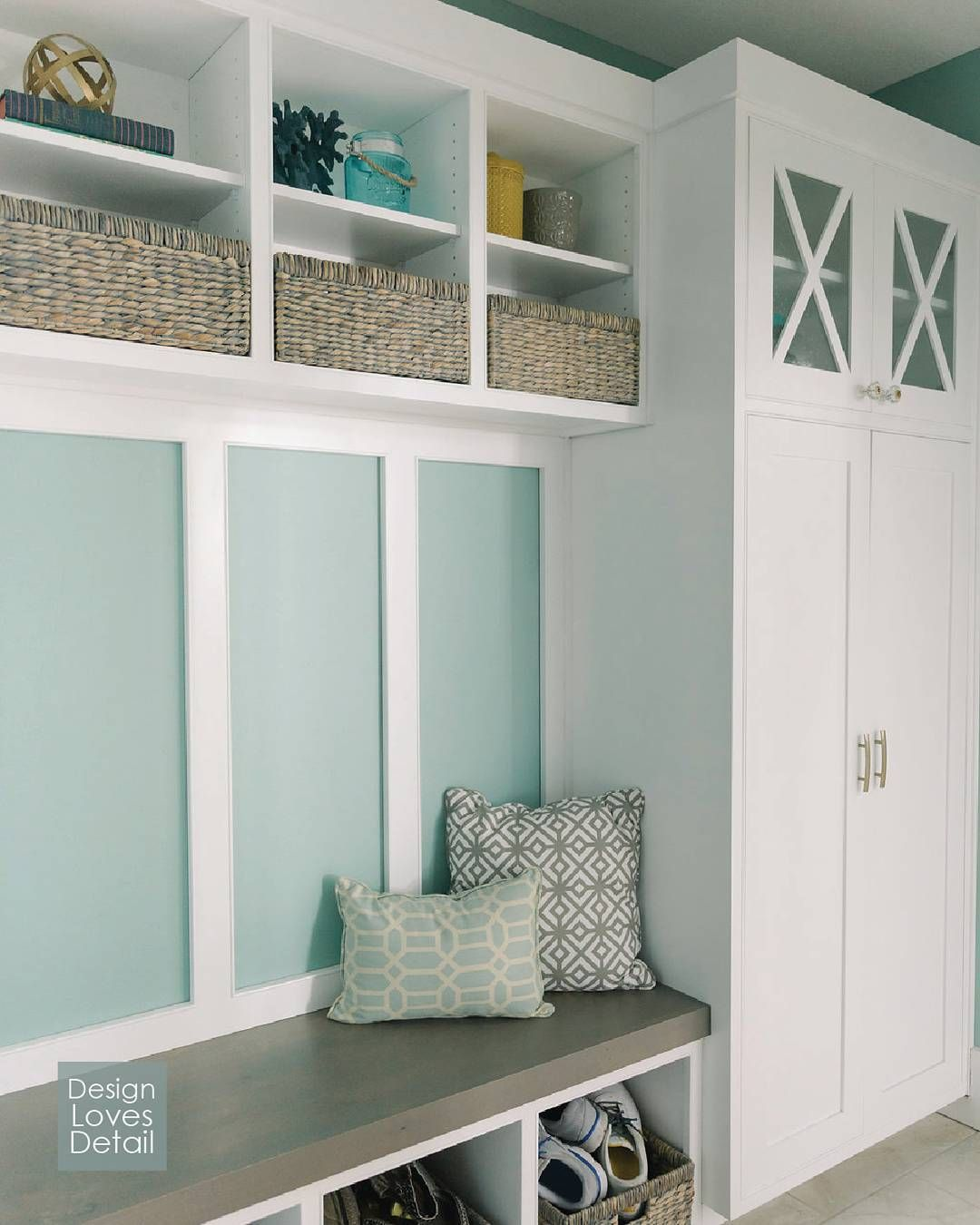 Love This Mudroom Built In Tall Cabinet Storage For Coats Bench Seating With Open Below Shoes Cubbies Above Catch All Baskets Are