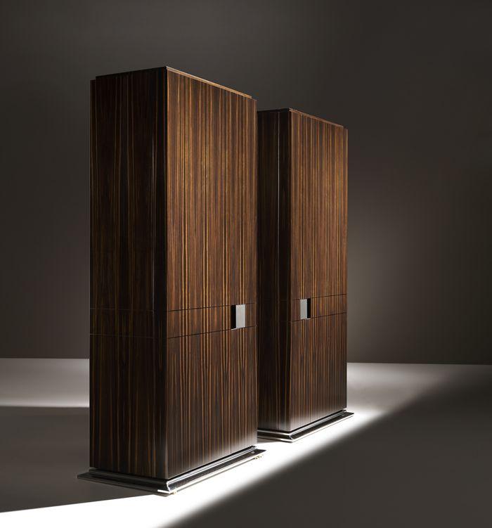 Designer Luxury Macassar Ebony Cabinet With Polished Steel Detailing.  Stylised Architectural Macassar Ebony Hand Made Furniture.