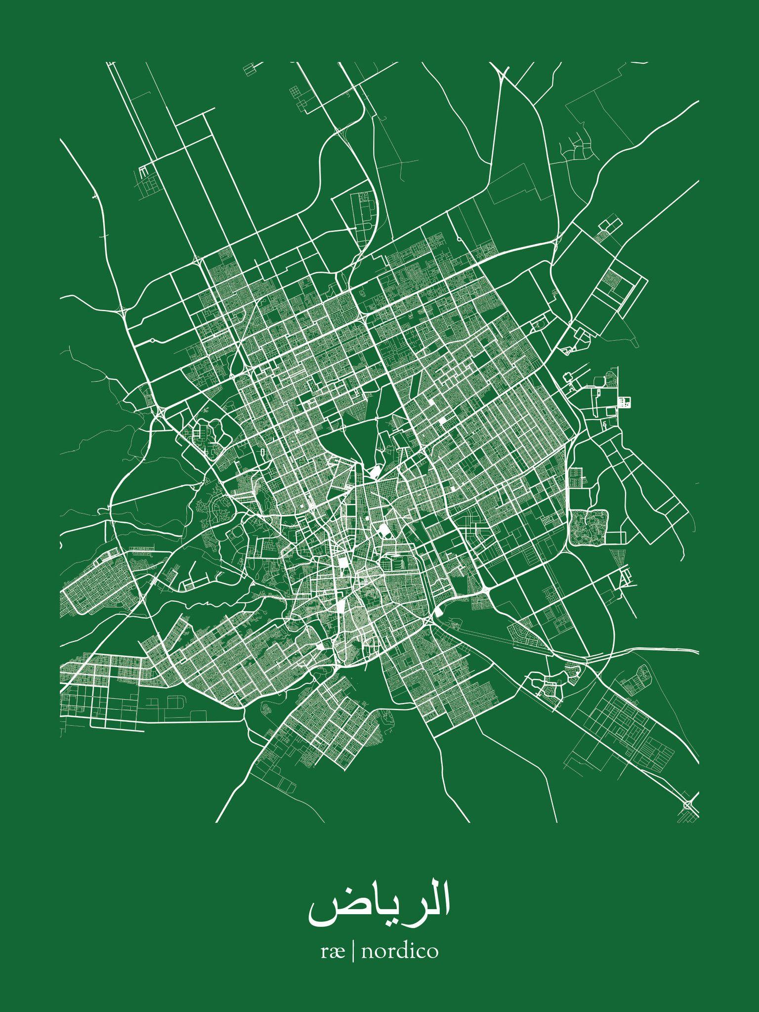 Riyadh saudi arabia map print