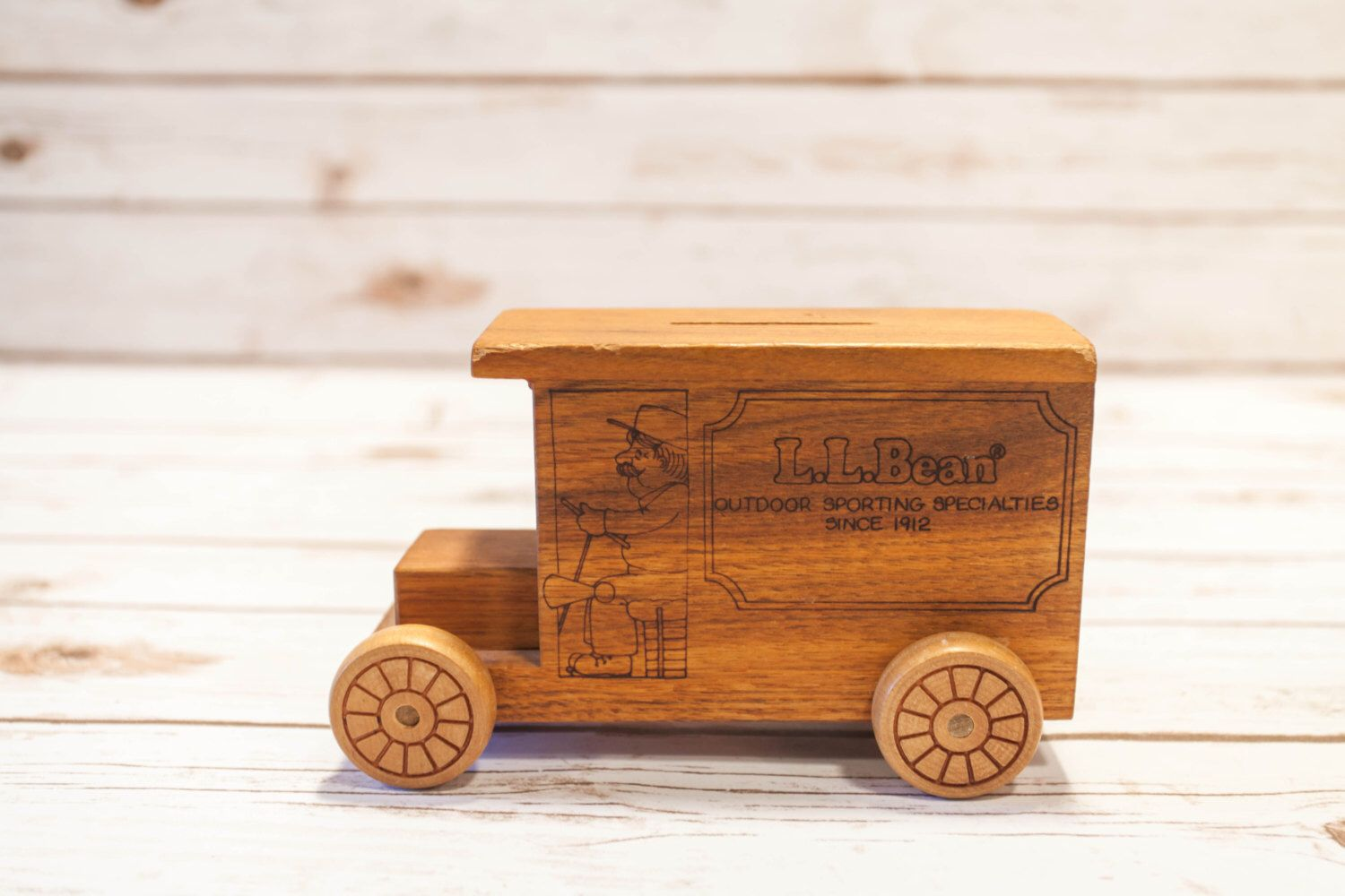 vintage l.l bean wooden toy bank, toystalgia inc. golden