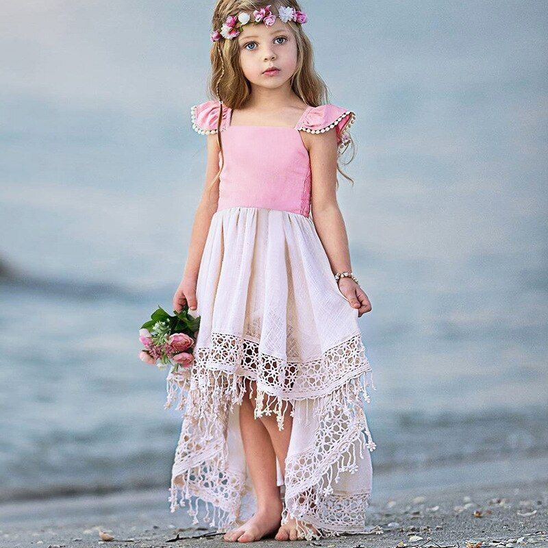 Summer Toddler Infant Kids Baby Girls Short Sleeve Lace Patchwork Princess Dress