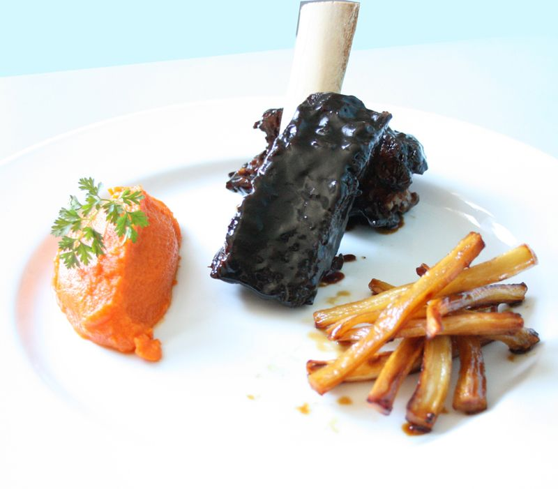 Lacquered Beef, Sweet Potato Puree, Root Veggie Frites {Peter Callahan Catering; Photo: Ross Whitaker}