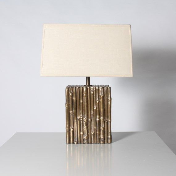Jan Showers | Shop | LIGHTING | TABLE LAMPS | Bronze Faux Bamboo Square Lamp ,