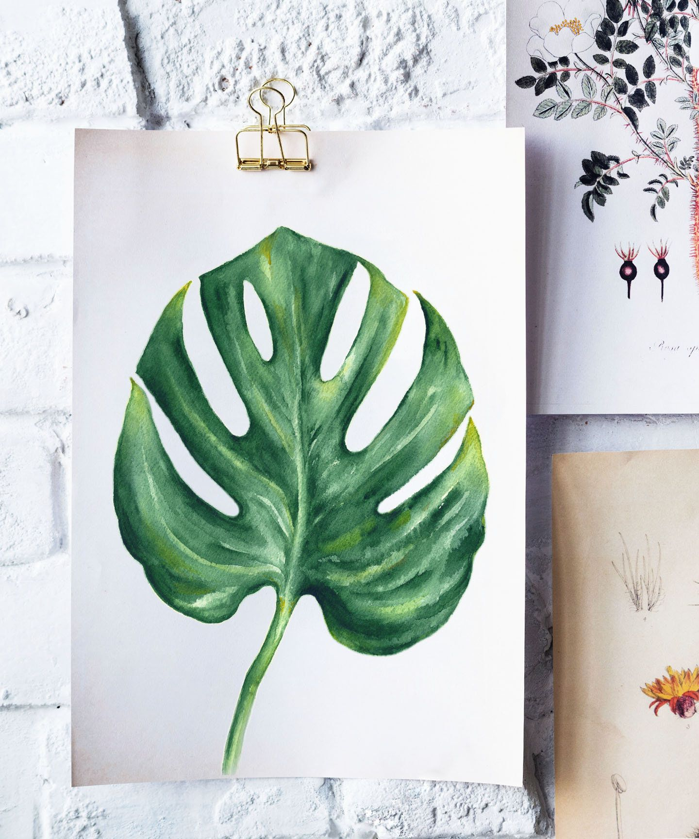 7b7a5ecc64ce PRINTABLE Monstera Leaf Watercolor Painting Tropical Leaf