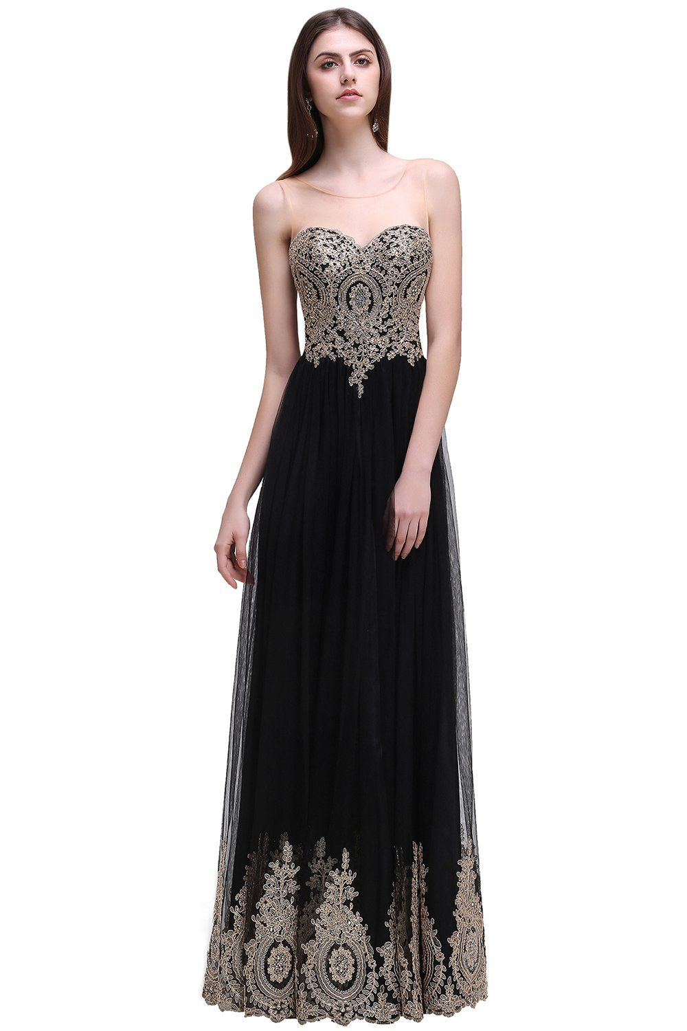Womenus lace applique long black formal evening prom dresses prom