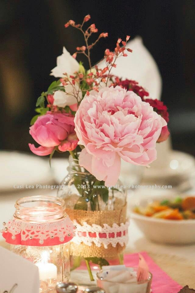 Pink table decorations