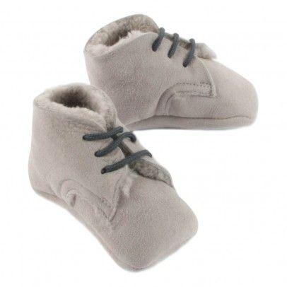 Fur Leather Slippers Grey  Pèpè