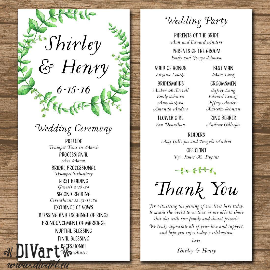by DIVart on Etsy Wedding programs, Ceremony programs