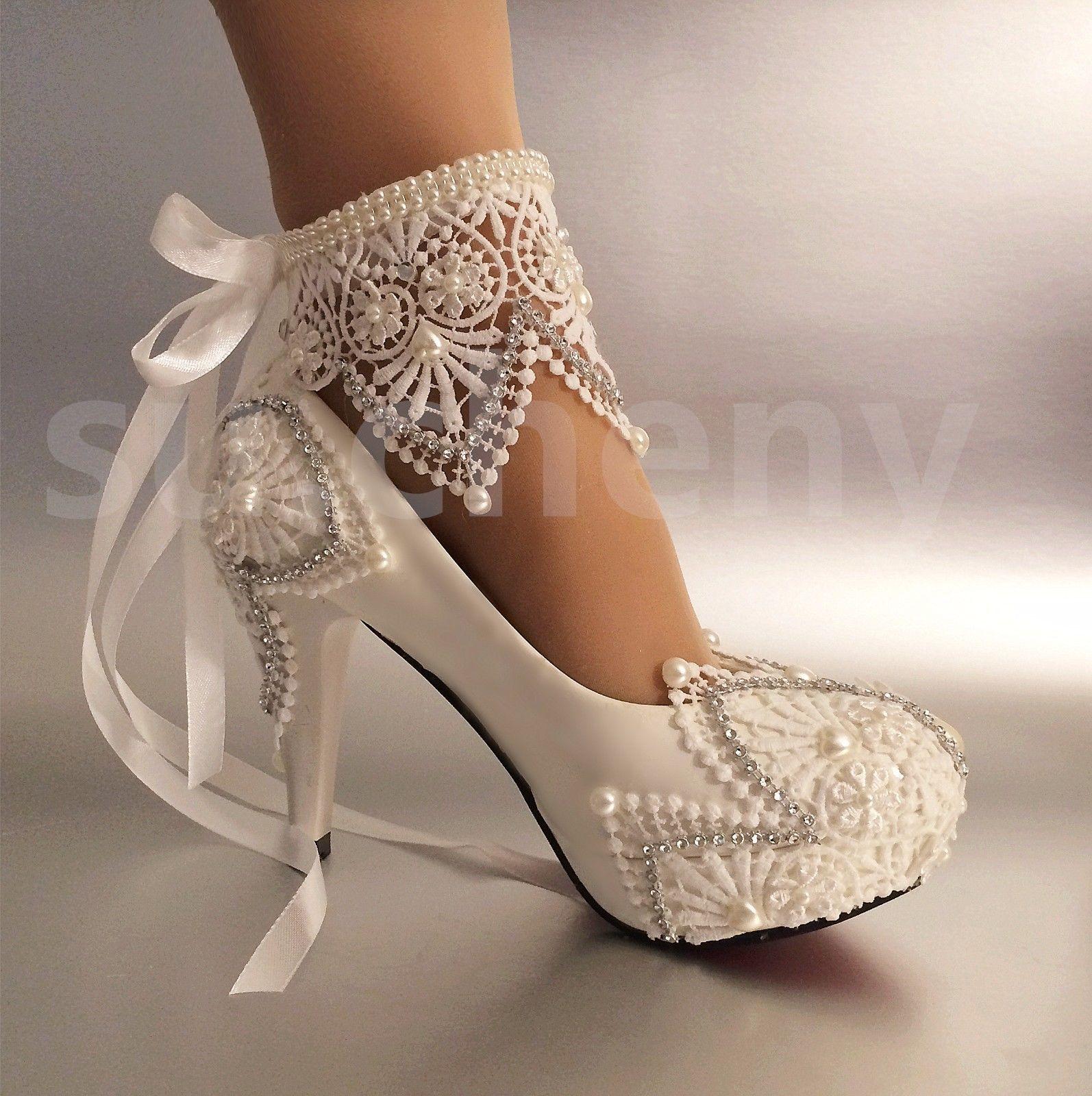 3 4 Heel White Ivory Lace Ribbon Ankle Pearls Wedding Shoes Bride Size 5 11 Ebay Weddingshoes Wedding Shoes Bride Wedding Shoes Pearl Wedding Shoes