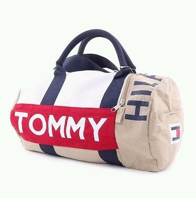 NEW Tommy Hilfiger Duffle Bag Large Red White Blue Beige Khaki Gym Bag  Unisex 37f461c681d69